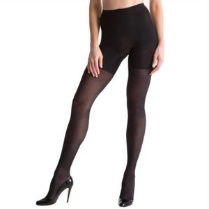Spanx Black Sheer Tights Shapewear Pantyhose Sz F
